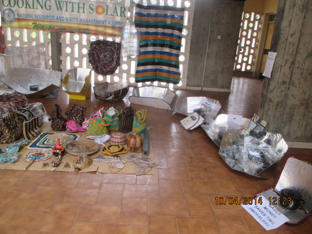 File:Solar cookers and plastic waste recycled items made by NAREWAMA on display at Tangaza college, Nairobi on the launch of Kenya Interfaith Network on Environmental Action(KINEA) copy, 10-18-14.jpg