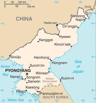 North Korea map, 1-4-16
