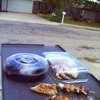Shish Kabobs grilling on the <a href=