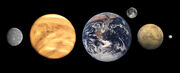 Terrestrial planets size comparison