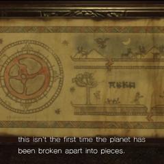 Una página en los Manuscritos de Gaia que representan la tierra destrozada.