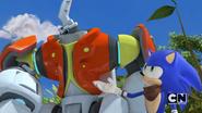 Friendbot walking with Sonic