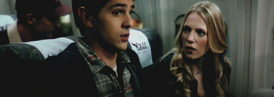 Sam and Molly on the flight