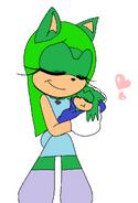 Katrina holding her baby son, Thomas