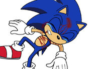 Sonic gets injured and is full of blood