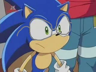 File:Sonic wearing his glasses when he is researching with his friends or taking a break or not fighting or going on a adventure in Sonic X and Sonic X New Adventure.jpg