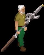 Zamorakian spear equipped