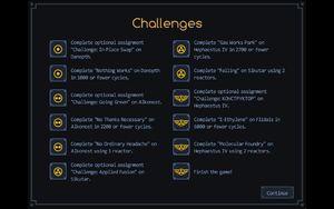 Challenges screen