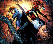 Peter (Earth-1610) & Spider-Woman (Earth-1610) defeating Doc Ock (Earth-1610)
