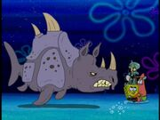 Squidward, Spongebob, Patrick, & 1 Sea Rhino