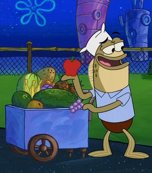 Fruit Vendor in Sharks vs. Pods