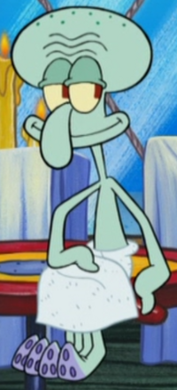 Squidward Wearing a Towel