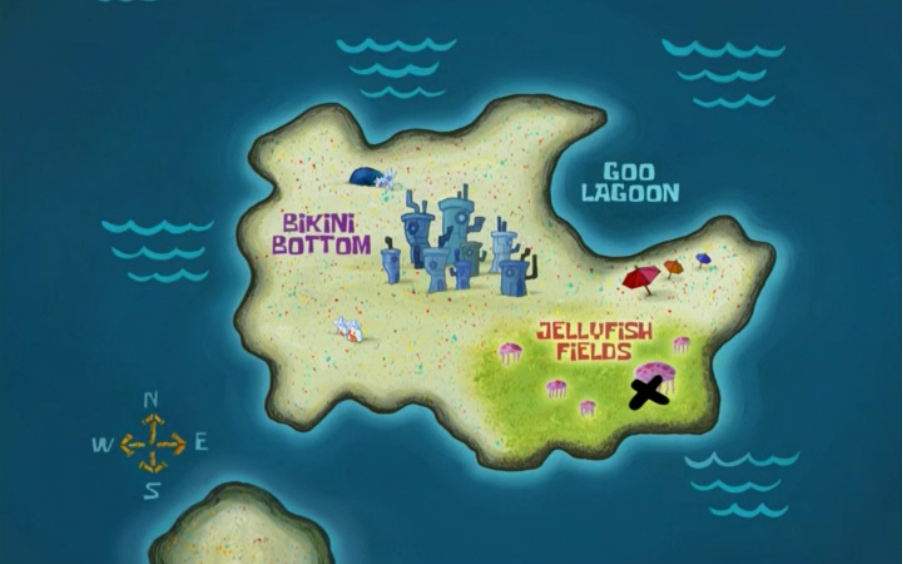 Bikini Bottom Map Map of Spongebob universe locations (help)   Bikini Bottom