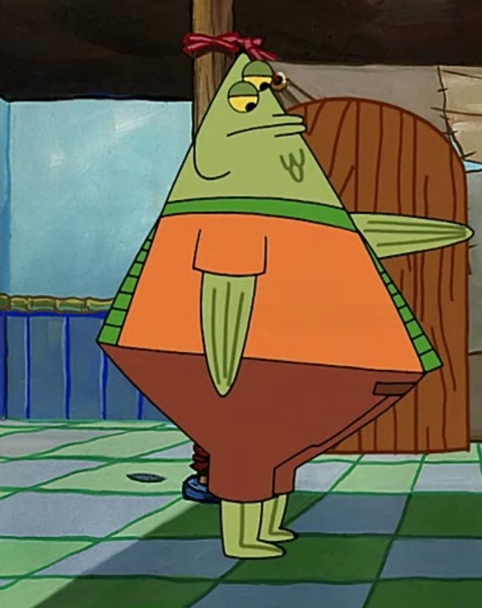Flats the Flounder on fat cartoon lobster