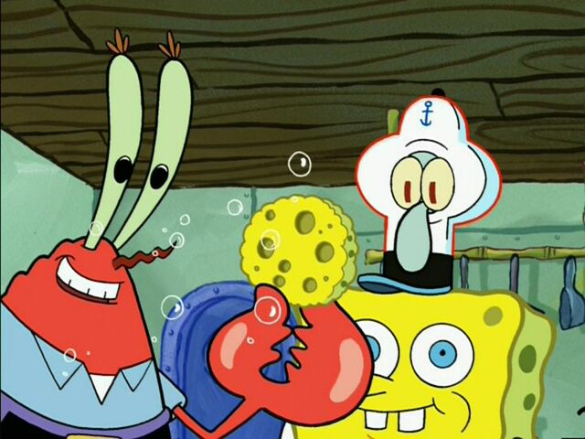 File:Mr. Krabs & Squidward Wearing 1 Spongebob Costume.jpg