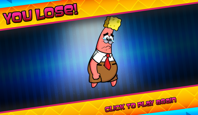 File:Bikini Bottom Brawlers Patrick dressed as SpongeBob you lose.png