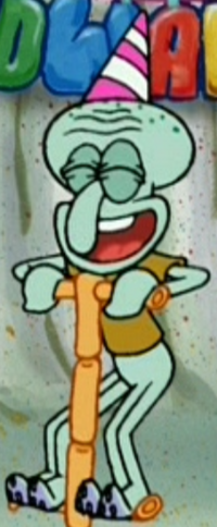Squidward Wearing a Party Hat