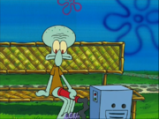 Squidward with a reef blower
