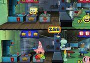 3d Spongebob, 3d Squidward & 1 3d Costumers, 3d Sandy & 1 3d Costumers, & 3d Patrick