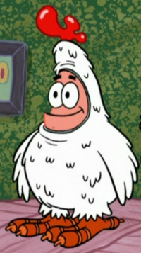 Patrick Wearing His Feather Friends Uniform