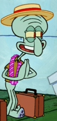 Squidward Wearing a Boater Hat and Lei