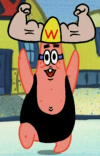 Patrick Wearing the Wrestling Camp Hat