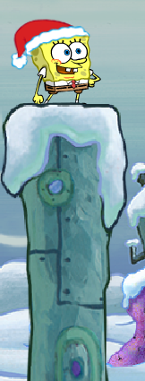 File:Spongebob Winter RUNerland Spongebob on light blue building.png