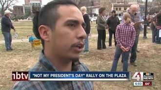 Hundreds gather to protest President Donald Trump in KC