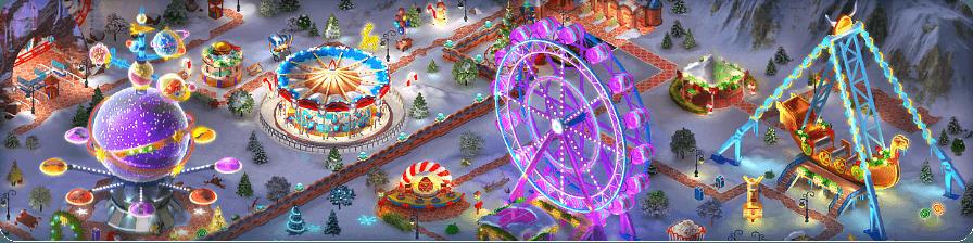 Winter Amusement Park Background