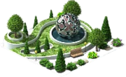 Decoration Park with a Metal Sphere