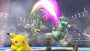 Link Fox and Pikachu Battle in Stadium