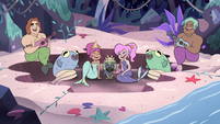 S3E3 Ludo laughing with mermaids and half-fish