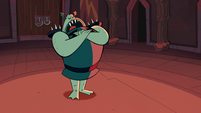 S1E3 Buff Frog saluting to Ludo