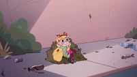 S2E7 Star Butterfly lying on a bed of leaves