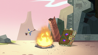 S3E3 Glossaryck and Book of Spells at the campfire