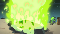 S3E3 Book of Spells goes up in green flames