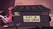 S1E16 Dumpster crashes into Ludo and monster