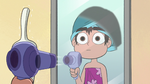 S2E27 Marco blow-drying the bathroom mirror