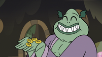 S3E5 Buff Frog holding four corn tokens