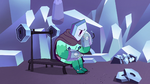 S2E34 Rhombulus sits on weightlifting bench