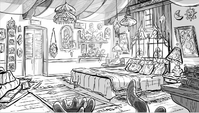 Mr. and Mrs. Diaz's bedroom concept art