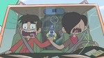 S2E5 Marco, Oskar, and Glossaryck scream and hold hands