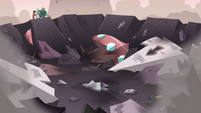 S3E7 Moon, Marco, and Buff Frog in front of a castle crater