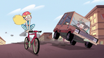 S2E5 Oskar's car leaning next to Star Butterfly