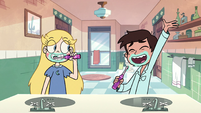 S2E39 Marco lip-syncing while brushing his teeth