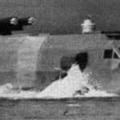 Landmaster demonstrating its amphibious capabilities during the early stages of Frontier exploration.