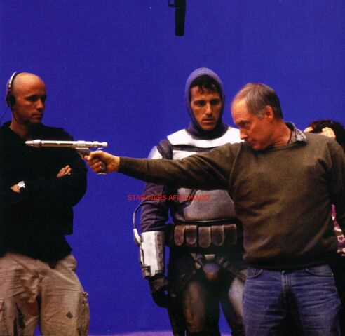 File:BTS of Attack of the Clones- Ben Burtt talks with Jango Fett stunt double Scott McLean.jpg