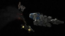 Heras damaged starfighter