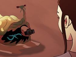 Rey feeds the worm