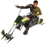 Kanan riding a speeder bike